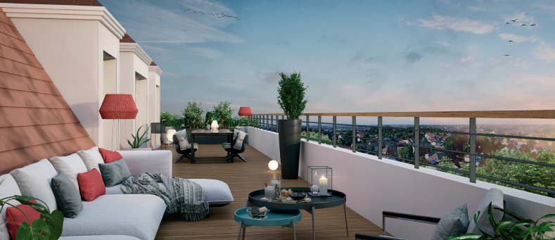 Facade-Promgramme-immobilier-neuf-appartement-terrasse-parking-Montfermeil-terrasse-93370-residence-medicis-balcon